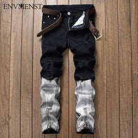 2017 new quality white black ripped destroyed mens bottoms zipper skinny slim fit painted denim jeans distressed broken swag