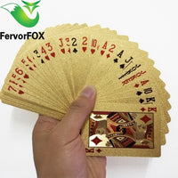 54pcs Original Waterproof Luxury 24K Gold Foil Plated Poker Premium Matte Plastic Board Games Playing Cards For Gift Collection