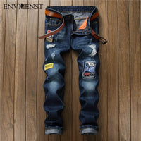 2017 Men Ripped Patched Badge Painted Moto Biker Jeans Straight Slim Fit Hip Hop Casual Denim Pants For Man Broken Holes Boys