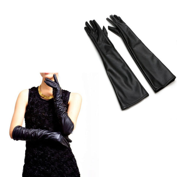 Big Promotion Fashion Winter Warm Solid Women Genuine Leather 47 cm Super Long Evening Gloves Female Large Size Lengthen Black