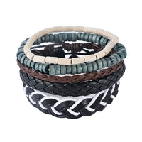 LASPERAL 1Set (3-4PCs) Leather Bracelet Men Multilayer Bead Bracelet Punk Wrap Bracelets for Women Vintage punk Men Jewelry