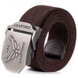 New! Adjustable Length Men Large yards buckle Belt Thickened Canvas Air Force Logo Belt High Quality Strap 110 140 cm 10 Colors