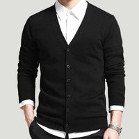 HEE GRAND Men Fashion Style Cardigan V-Neck Single Breasted Thin Wool Whole Cotton Comfortable Material Autumn Sweater MZM507