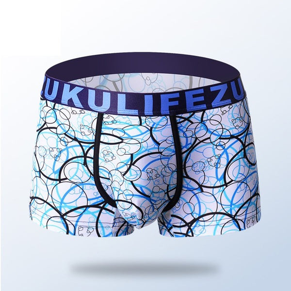 Mens Casual Antibacterial Breathable Printed Underpants Ice Silk Super Soft U Convex Underwear Boxers Sexy For Male High Qaulity