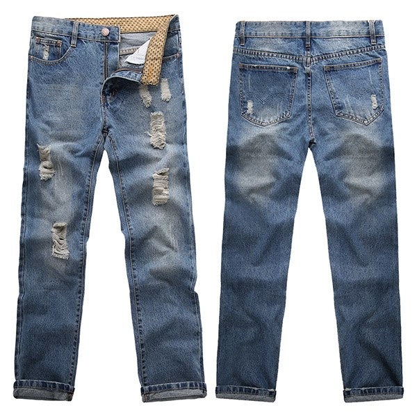 COOFANDY Men Jeans 2017 US SIZE Mid Waist Full Length Solid Fashion Ripped  Jeans Whisker Denim Washed Jeans Pants For Men