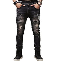 2017 Autumn Winter Europe Punk Style Slim Jeans Men Fashion Black Hole Jeans Male Street Dark Style Special Pants