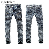 2017 stylish biker Jeans rock Men's Hip Hop swag Jeans Washed Skinny motorcycle Denim pants Men white pencil pants Snow Wash