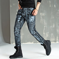 2017 New Men printing Nightclubs golden Jeans Famous Brand Fashion Designer Denim Pants Men plus size 30-38 casual jeans
