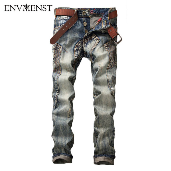 2017 European Style High quality Men's slim jeans mens denim trousers Straight vintage fashion brand blue jeans for men