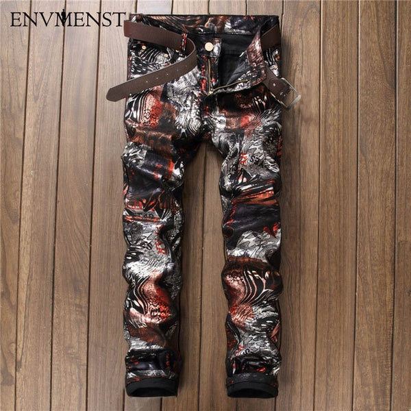 2017 High Quality 3D Printed Jeans Men Fashion Classic Slin Fit Denim Pants Men's Jeans Elastic Biker Casual Men Clothing