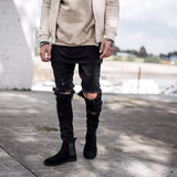 2017 Fashion Men Denim Pants Jeans Ripped Holes Skinny Elastic Slim Fit Cool Punk Long Trousers   H9