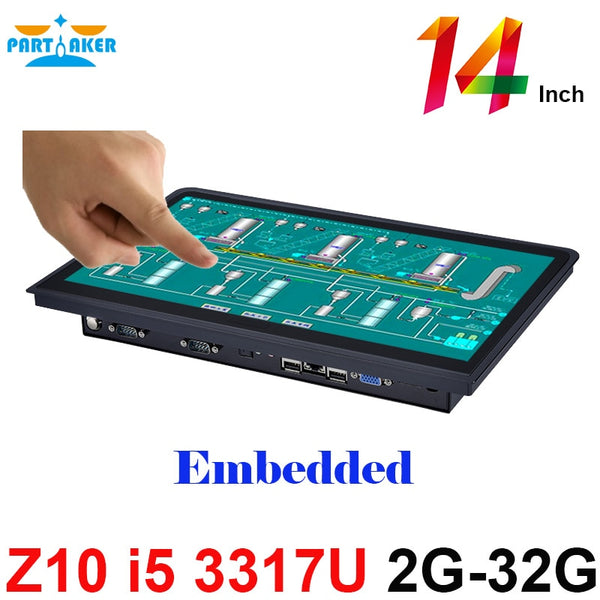 Embedded Computer Systems 14 Inch 10 Points Capacitive Touch Screen All In One Pc With Intel Core I5 3317u 2GB Ram 32GB SSD