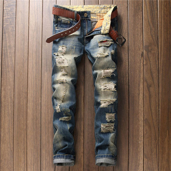 2017 Fashion Hole Metrosexual Straight Destroyed Jeans Brand Casual Slim Ripped Jeans Homme Retro Men's Street Denim Trousers