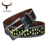 COWATHER cow genuine leather belts for men 2017 new designer high quality Fluorescence 130cm pin buckle dropshipping