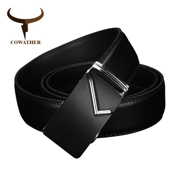 COWATHER 2017 luxury men belts for men automatic buckle top high quality durable Natural grain leather 35mm wide CZ019