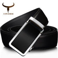 COWATHER 2017 Automatic Buckle Metal Belts for Men Cow Genuine Leather Belt high grade new Fashion style Leather Men Belts