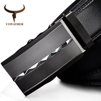 COWATHER 2017 cow genuine leather luxury men belts for men for business automatic alloy buckle ceinture homme casual business