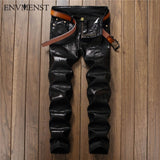 2017 European Street style fashion casual Letter Printed Black jeans straight slim quality PU leather men Denim Pants