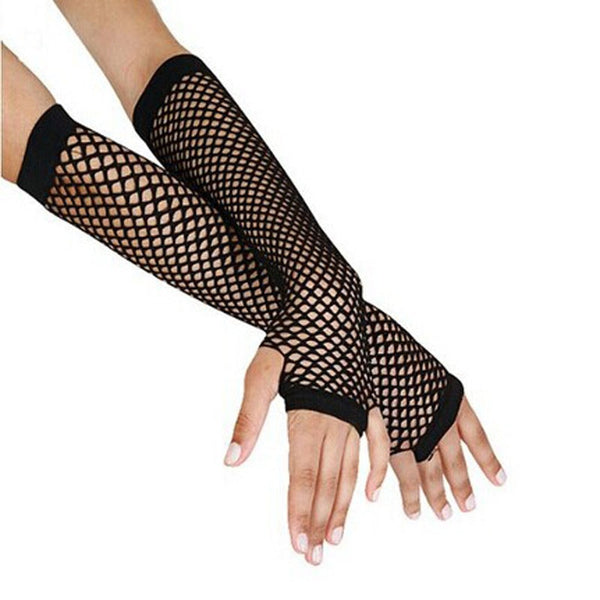 Punk Goth Lady Disco Dance Costume Lace Fingerless Mesh Fishnet Gloves BK