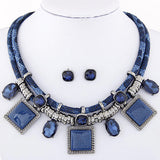 Kymyad Collier Femme Geometric Necklaces & Pendants Jewelry Sets Crystal Resin Collares Statement Colar For Women Joyeria
