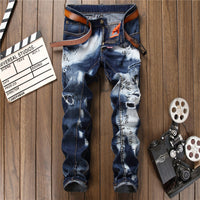 2017 Envmenst Brand Clothing High Street Style White Washed Letter Printed Men's Jeans Ripped Patch Biker Denim Pants For Men
