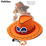 Wholesale Price One Piece Portgas D Ace Cosplay Hat Cowboy Hat Souvenirs Pirates Caps With Bones Skull Toys