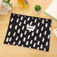1X Korean White & Black A4 B6 Canvas Oxford Document Bag Pen Bag Business Briefcase File Folder for Papers Student Stationery