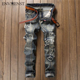 2017 Fashion Brand new fashion retro hole patch men jeans Europe and America slim fit straight jeans pants hi-street Denim pants