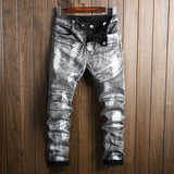 Envmenst 2017 Fashion Men Jeans Washed Stretch Straight Denim Pants Zipper Paint Color Locomotive Style Jeans