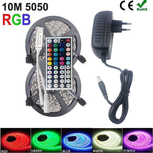 RiRi won SMD RGB LED Strip Light 5050 2835 10M 5M LED Light rgb Leds tape diode ribbon Flexible Controller DC 12V Adapter set