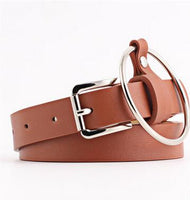 2017 Newest Women waist belt Lovely women's big ring decorated belts female fashion belt for women buckle solid PU leather strap