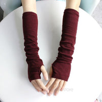 Elegant Ladies Autumn Winter Hand Arm Gloves Women Fashion Crochet Knit Long Stretchy Fingerless Warm Gloves 5 Colors for Choice