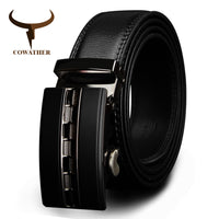 COWATHER  Famous Brand Belt Men Top Quality Genuine Luxury Leather Belts for Men,Strap Male Metal Automatic Buckle big size