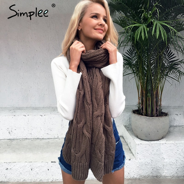 Simplee Warm long face shield knitted women scarf  Winter 2017 high quality soft pashmina Fashion autumn handmade khaki shawls