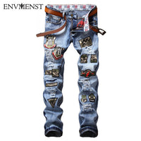 2017 MEN JEANS fashion slim fit letters Patch Appliques jeans Male plus size casual blue denim pants Long trousers big size 38
