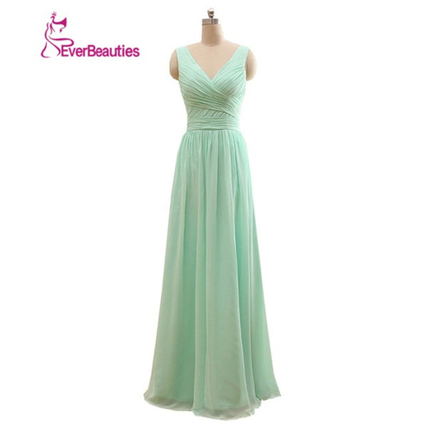 Long Bridesmaid Dress Mint Green Chiffon A Line Pleated Bridesmaid Dress Under 50 Wedding Party Dress 2018