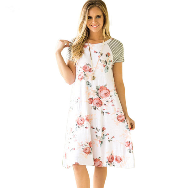 ELSVIOS Summer Floral Printed Loose A-Line Dress Women O Neck Short Sleeve Patchwork Dresses Casual Sundress Female Vestidos