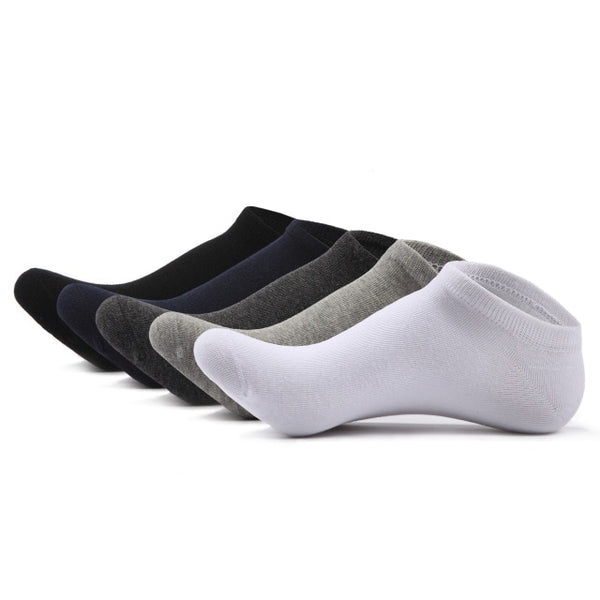 SKCOSOCKS Men Cotton Ankle Socks Men's Business Casual Solid Black White Short Socks Male 5 Pairs/lot for Spring Summer 2018