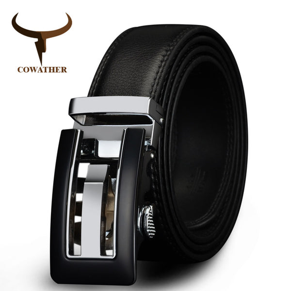 COWATHER 2017 Genuine Leather belts for men High quality brown black color metal automatic buckle Strap male Jeans cowboy CZ045