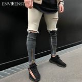 2017 Envmenst Brand Clothing Fashion Black&White Patchwork Men's Skinny Jeans Casual Ripped Street Biker's Hip Hop Denim Pants