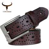COWATHER 2017 Women Belts New Hollow design high quality cow genuine leather jeans Belt pin buckle female XF007 Waist 28-41