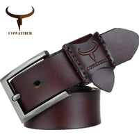 COWATHER 2017 hot sale jeans men belt cow genuine leather belts for men new arrival good quality male strap 130CM big size