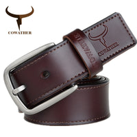 COWATHER fashion design cow genuine leather 2017 new men belts good quality male belt for men newest pin buckle XF013