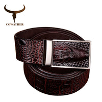 COWATHER 2016 good quality cow genuine leather belts for men alligator pattern automatic buckle mens belt  original brand