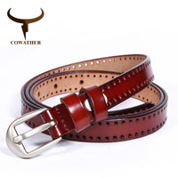 COWATHER New Vintage style women belts cow genuine leather high grade quality alloy pin buckle fashion desgin free shipping