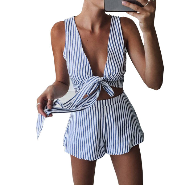 Two Piece Set Blue Striped Playsuits Beach Casual Short Pants Jumpsuit Rompers Sexy Sleeveless V Neck Overalls Bodysuit Sashes