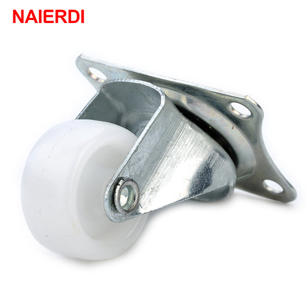 "4pcs NAIERDI 10KG Universal Swivel Casters 1"" Furniture Wheel Castor White PP Nylon Dual Roller Wheel For Platform Trolley Chair"
