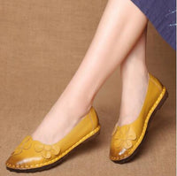 Xgravity Summer Autumn Fashion Flower Design Round Toe Mix Color Flat Shoes Vintage Genuine Leather Women Flats Girl Loafer A006