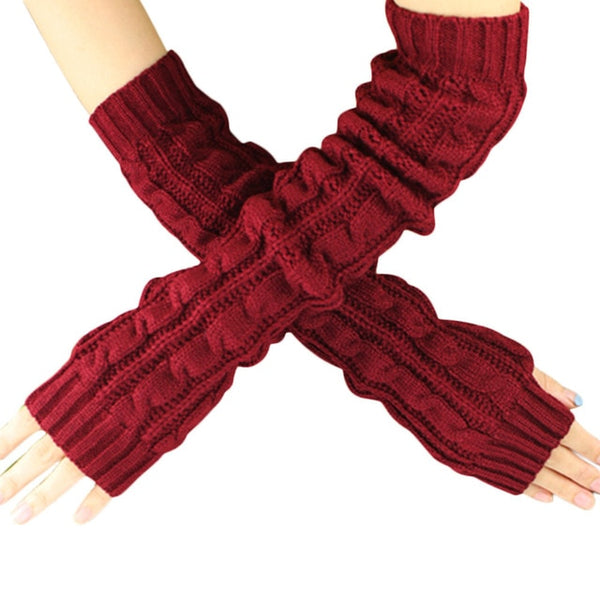 2016 Autumn Women Wool Arm Warmers Winter Fashion Hemp Flowers Fingerless Gloves Knitted Mitten Long Gloves