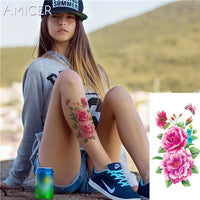 3D lifelike Cherry blossoms rose big flowers Waterproof Temporary tattoos women flash tattoo arm shoulder tattoo stickers